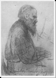 Л.Н.Толстой в Никольском (рисунок П.И.Нерадовского)