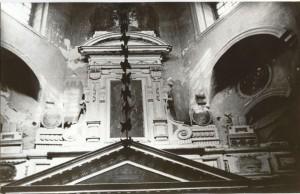 Архивное фото 40-х гг. с сохранившимся фрагментом подлинного иконостаса