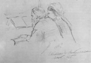 Л.Н.Толстой за роялем в Никольском (рисунок П.И.Нерадовского)